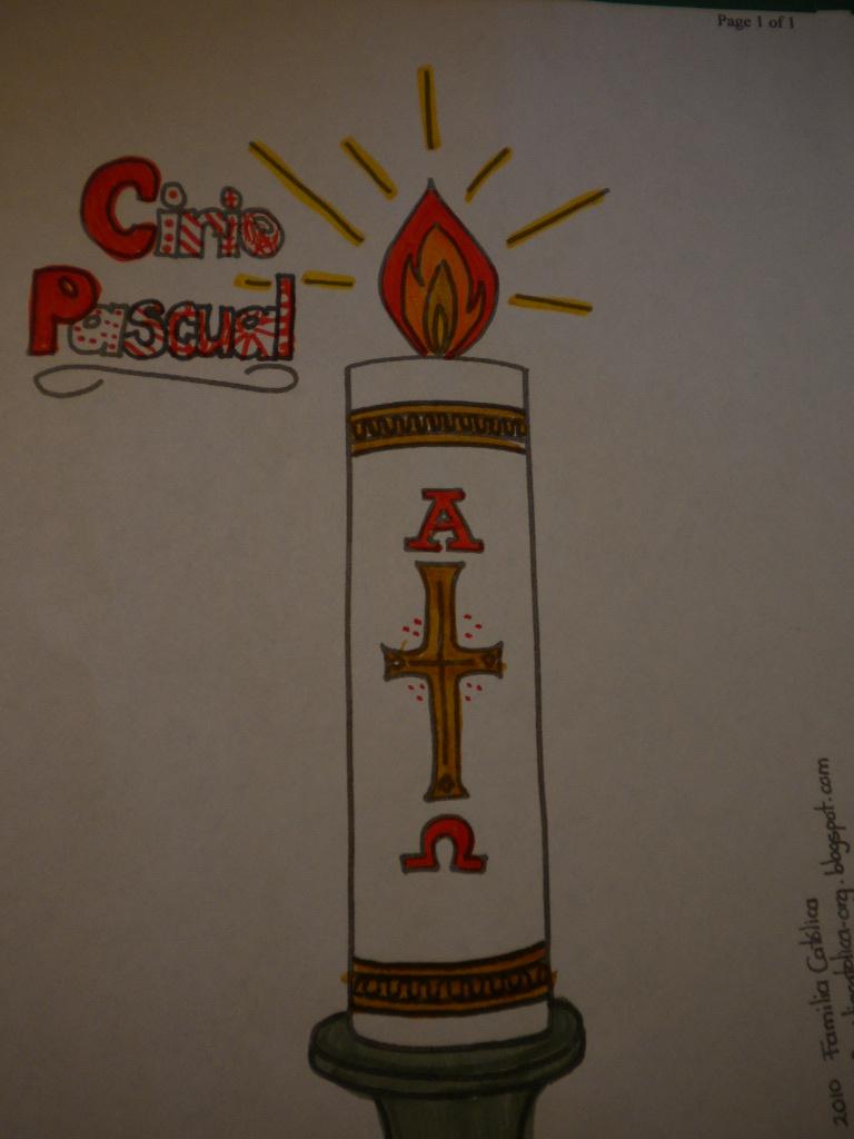 Familia Católica: Cirio Pascual: Página para colorear para niños