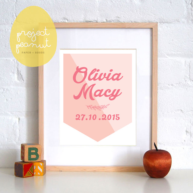 Personalised Child's Name & Birth Date Flag Printable Wall Art Wall Decor for Kid's Nursery or Playroom | projectpeanut.com.au