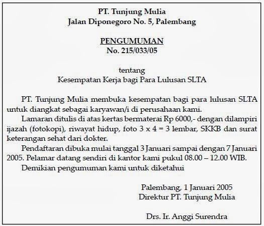 Zahrotussaadahmafa Contoh Surat Perintah Pengumuman
