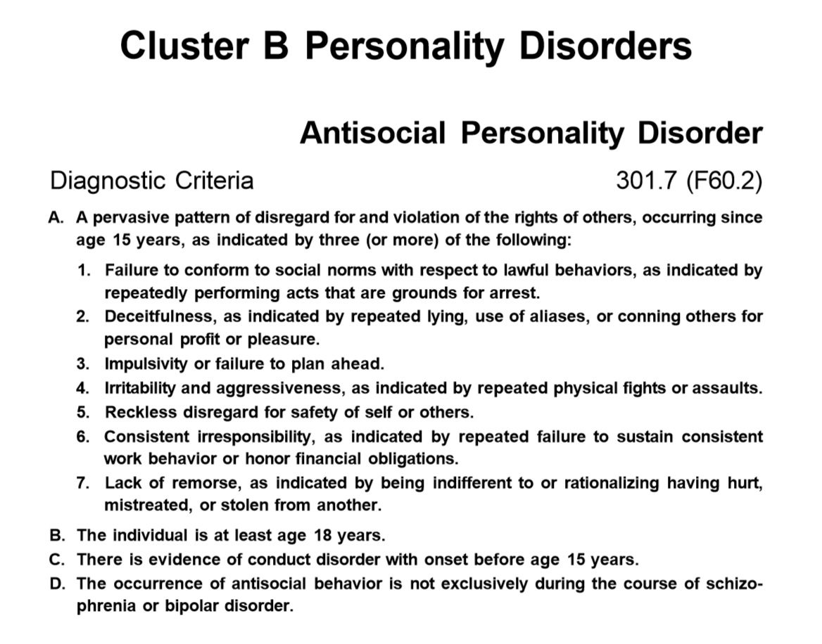 a short case study of an individual with antisocial personality disorder B case studies c introspection d a information about the course of the disorder in other individuals when a case history of antisocial personality.