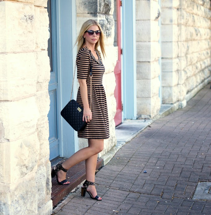 Black and Tan Stripe Dress from Old Navy Fall Outfit Idea