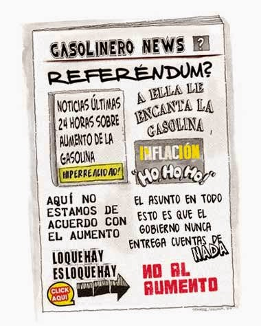 Front page tipo cómic aumento gasolina Venezuela