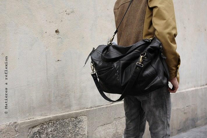 Besace Homme en cuir vintage noir