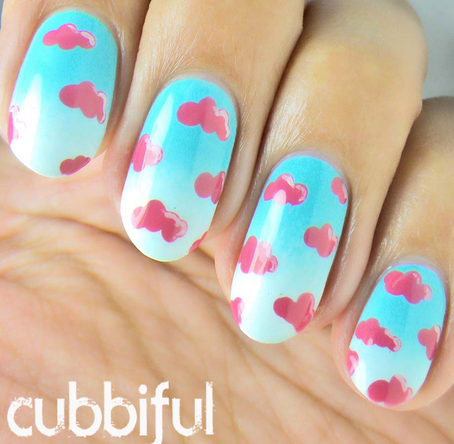 Cubbiful Cotton Candy Clouds Nail Art
