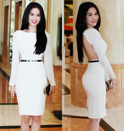 Màu trắng tôn lên vẻ đẹp trong sáng của Ngọc Trinh