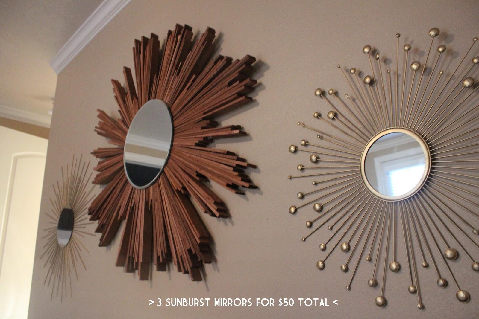 Diy Mirror Ruffling Feathers Wall Of Sunburst Mirrors Diy