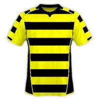 Desain Jersey Bola Futsal Kuning Bergaris Hitam