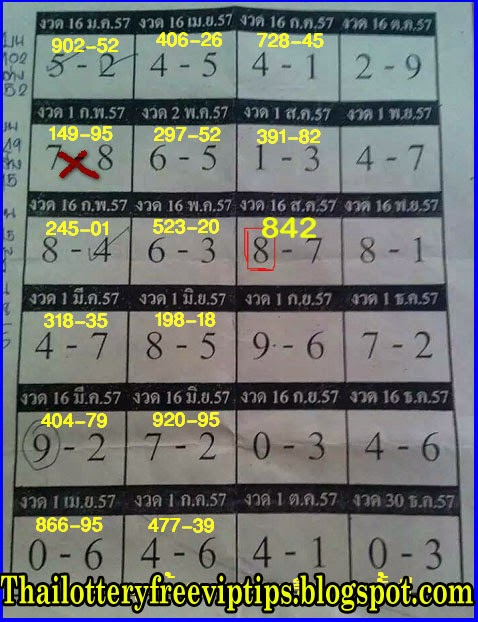 Thai Lottery hot Yearly Touch Tip paper 01-09-2014