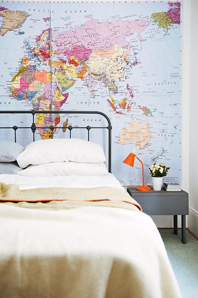 bedroom wall map art