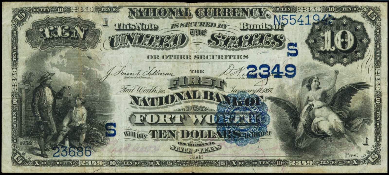 1882+Ten+Dollar+Date+Back+National+Curre