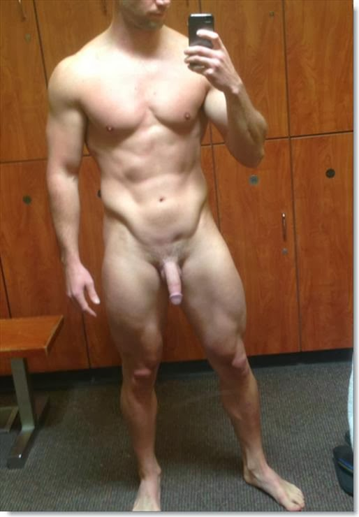 Nude men locker room selfies