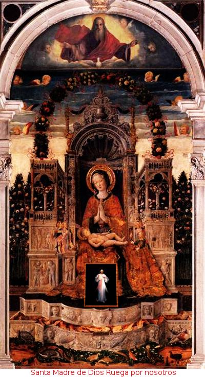 la virgen con jesus y el cuadro divina misericordia
