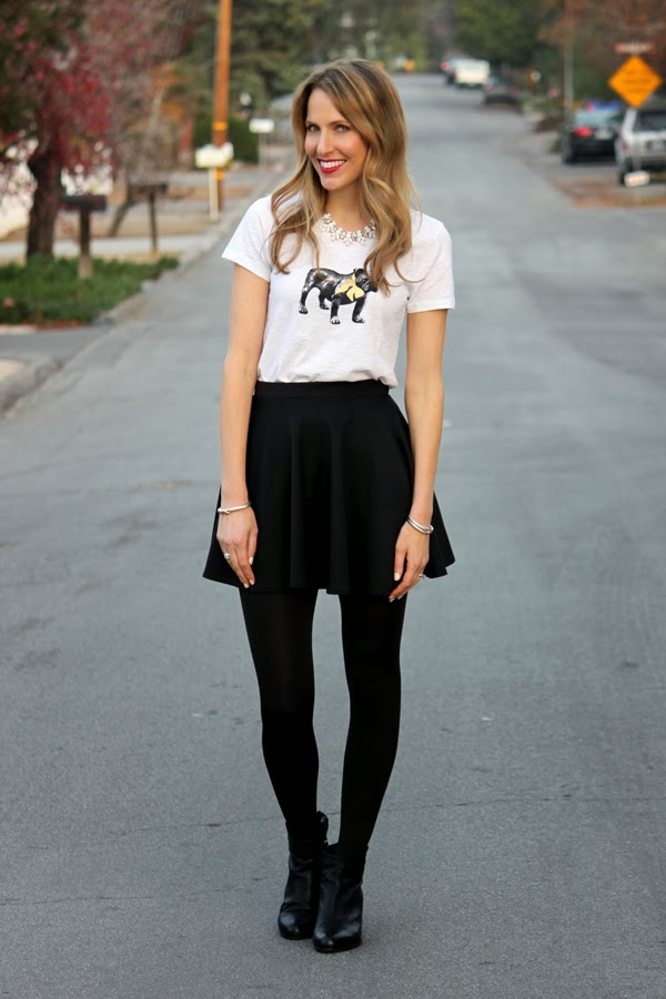 Bulldog tee, skater skirt & ankle booties