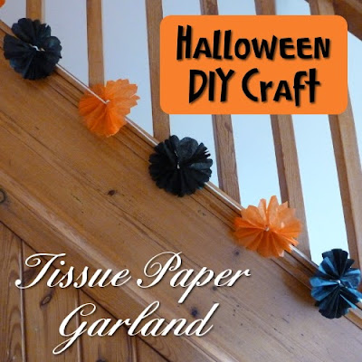 Black and orange color tissue paper decoration on the staircase