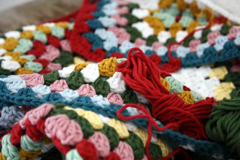 Crochet granny square WIP