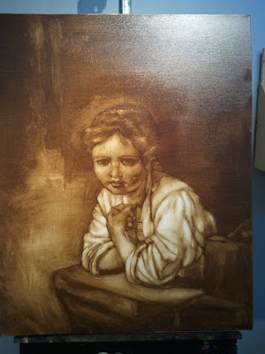 Girl in Window rub-out Copy of a Rembrandt by Nicole Piar