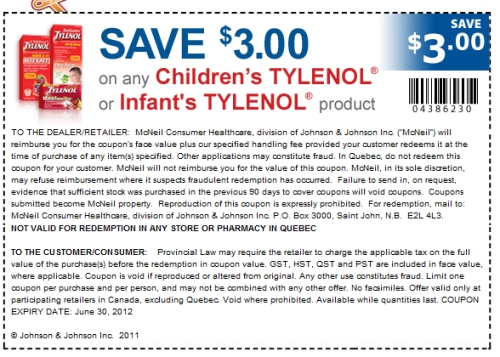 photo regarding Tylenol Printable Coupon identified as Canadian Day by day Discounts: Livingwell.ca: Conserve $3 Childrens or