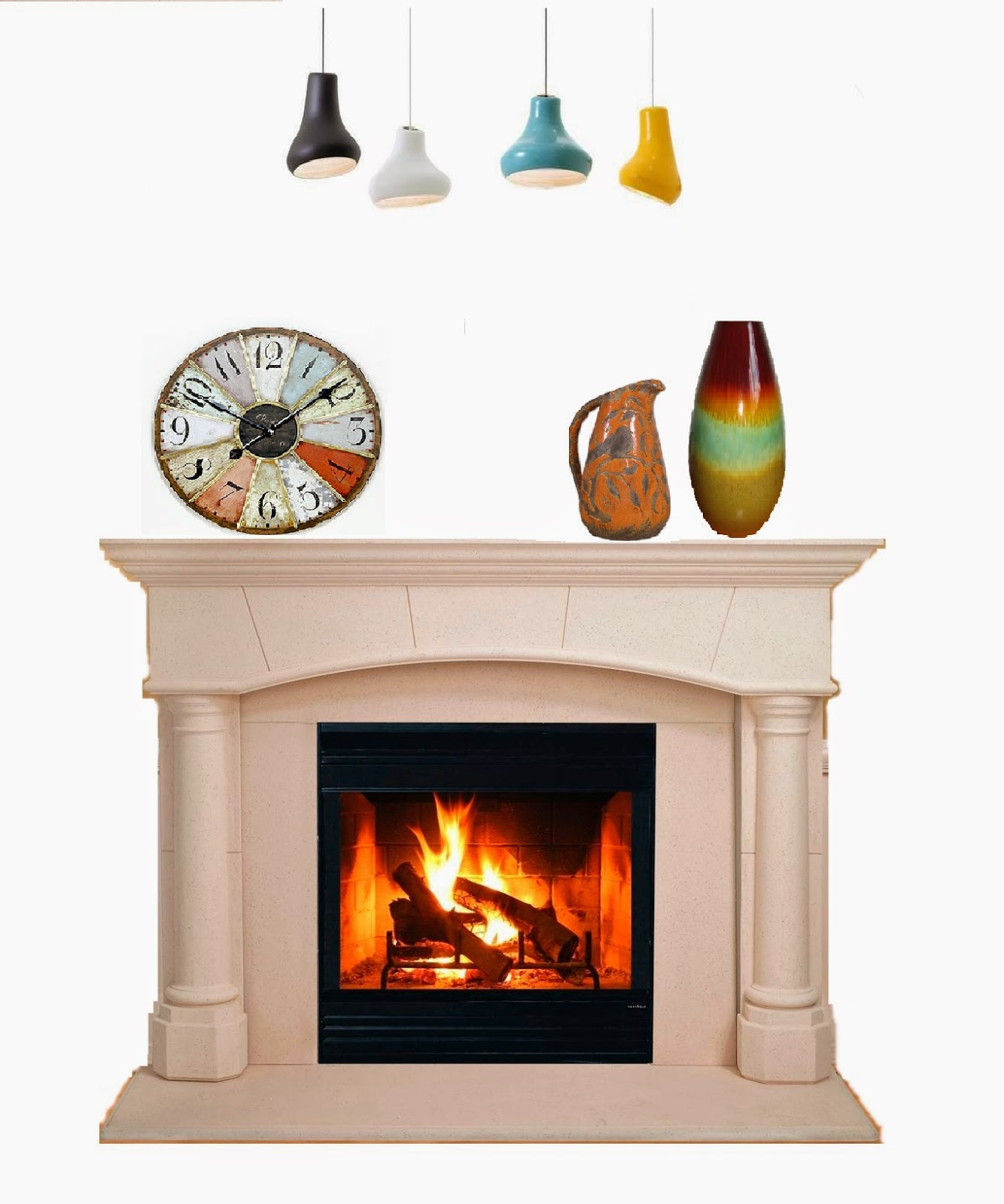 mantel on fireplace decorations