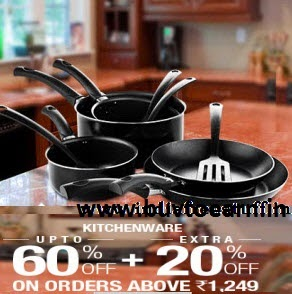 Flipkart: Buy Kitchenware upto 55% off + 20% off on Rs. 1249