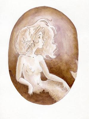 """""""sirena pescada"""" il·lustració infantil a tinta"""
