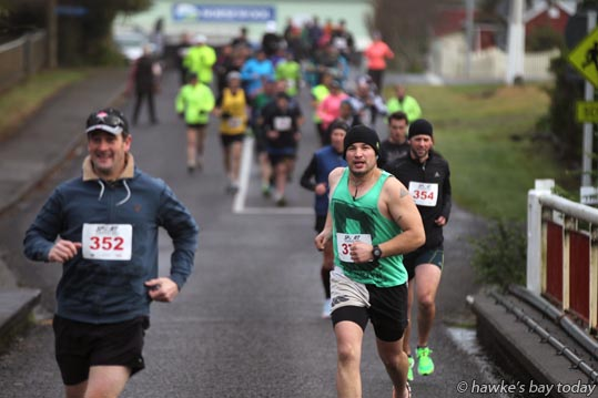 L-R: Duncan Harding, Phillip Tidswell, as the slow runners set off in the Norsewood to Takapau FUN Challenge on the rural roads of Central Hawke's Bay. photograph