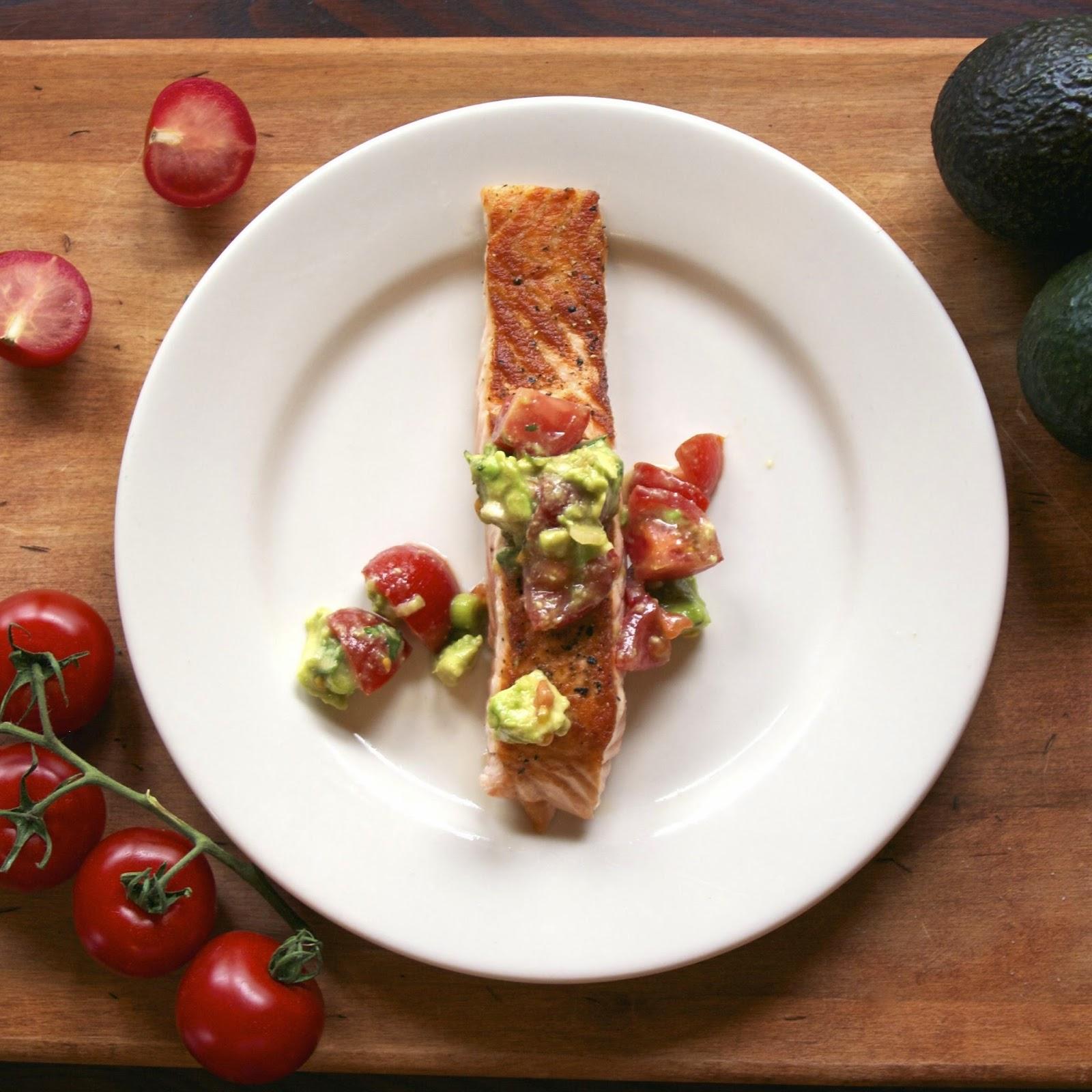 Salmon with Tomato Avocado Salsa- simplelivingeating.com