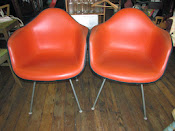MidCentury Eames/Herman Miller Fiberglass/Naugahyde Shell Side Chairs