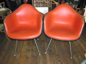 MidCentury Eames/Herman Miller Fiberglass/Naugahyde Shell Side Chairs