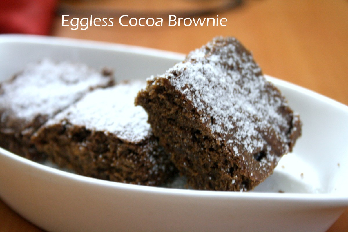 Eggless Butterless Cocoa Brownies