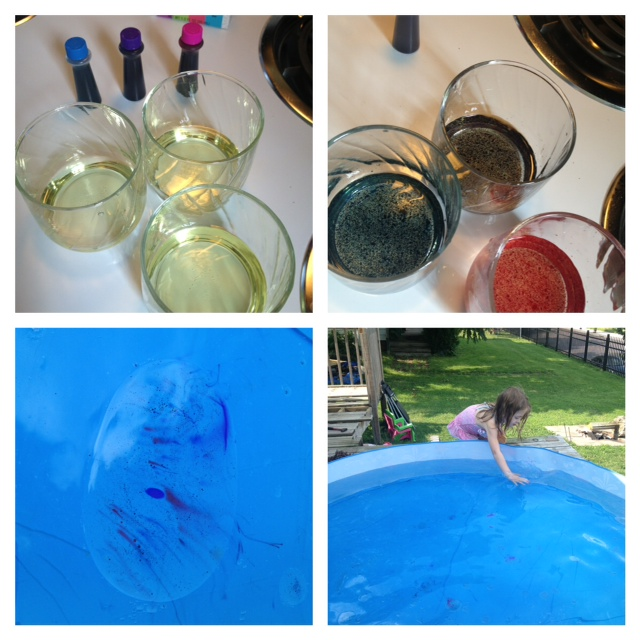 Oil With Food Coloring In The Kiddie Pool Experiment