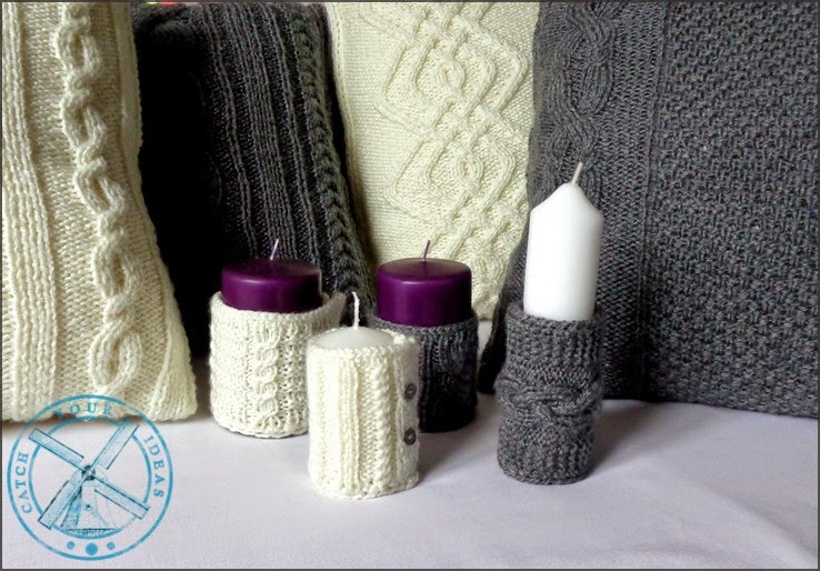 świece, ocieplacze na świece, ocieplacze na swiece, sweterki na swiece, sweterki na świece, candle sweater, candle pullover, odoby swiece, ozdoby na swiece, sweterek z warkoczami na swiece, candle warmer