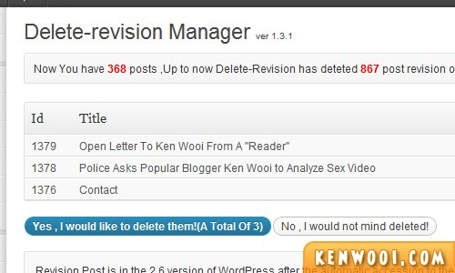 wordpress plugin delete revision