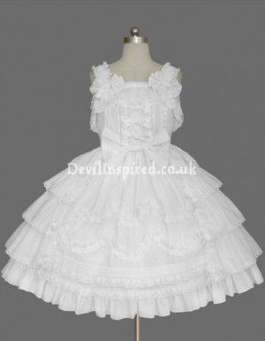 White Lace and Bow Sleeveless Sweet Lolita Dress