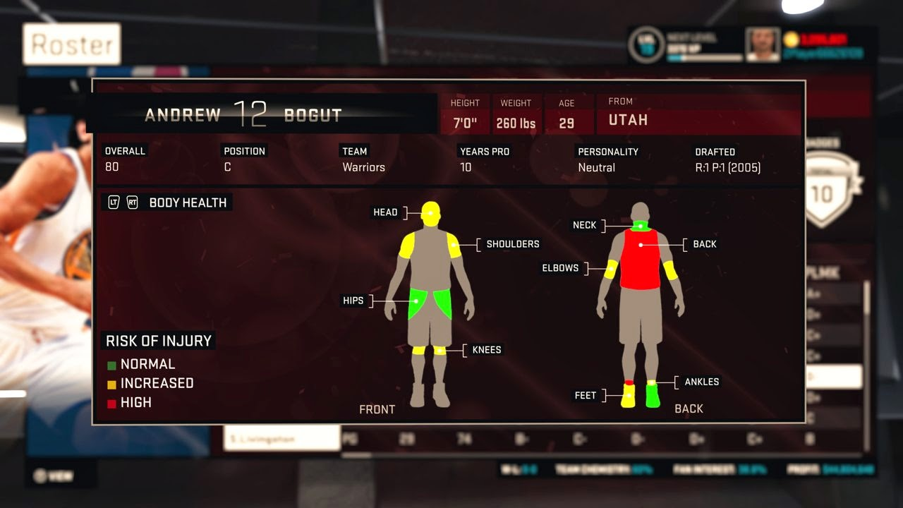 NBA 2K15 MyGM Player Health