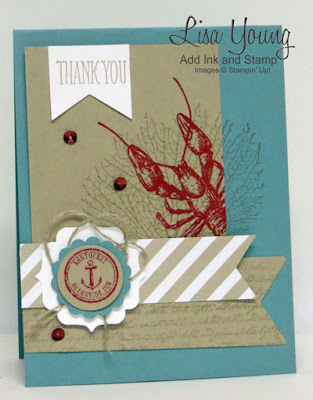 Stampin' Up! By the Tide stamp set. Red Lobster on Kraft. Blue background. Handmade ocean themed card by Lisa Young, Add Ink and Stamp