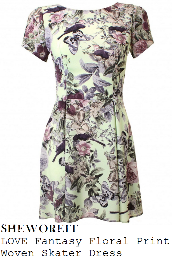 lucy-mecklenburgh-pastel-mint-green-pink-purple-black-and-white-floral-butterfly-and-bird-print-short-sleeve-skater-dress