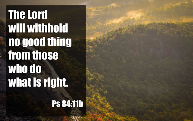 The Lord will withhold no good thing from those who do what is right. Psalm 84:11b