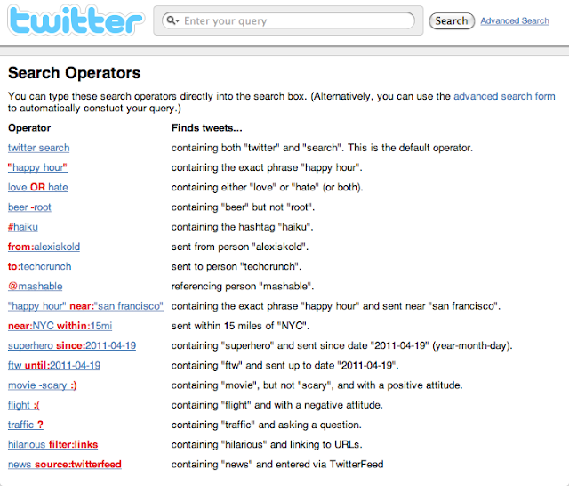 """ twitter search operators"""