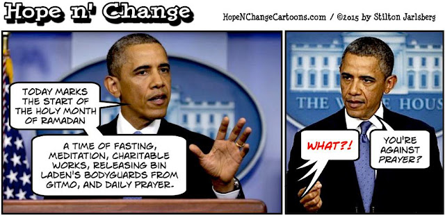 obama, obama jokes, political, humor, cartoon, conservative, hope n' change, hope and change, stilton jarlsberg, ramadan, gitmo, bin laden, release