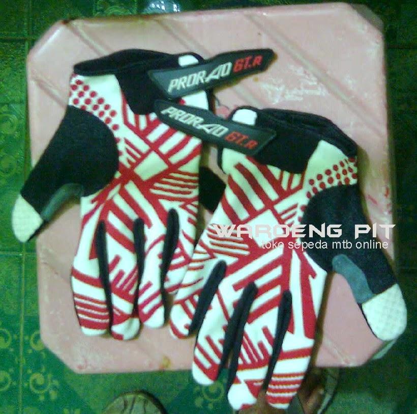 jual sarung tangan kaos Prorao GT R zebra merah putih sepeda mtb gunung murah waroengpit keren
