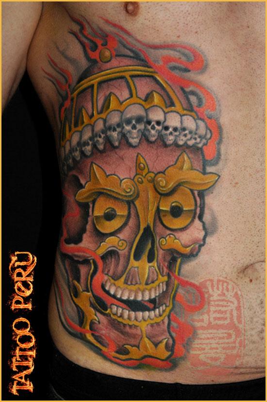 Tipos de Aros para Piercing o Perforaciones. 01_tattoo_craneo_de_guerrero