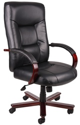 Boss Leather and Wood Executive Chair