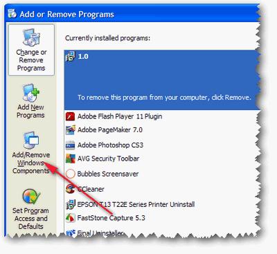 Add or remove Windows Components