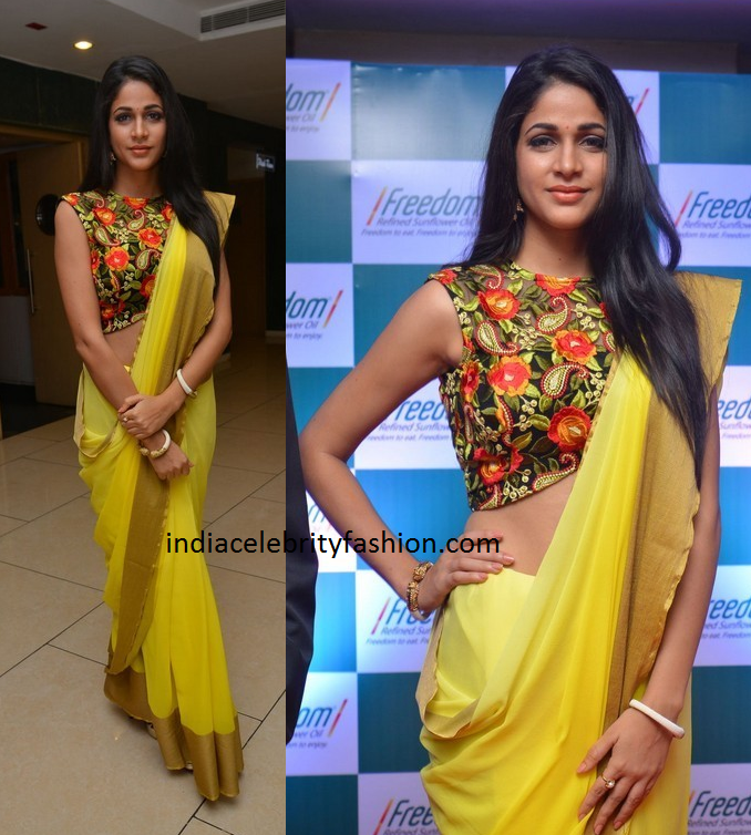 Lavanya Tripathi in Yellow Chiffon Saree