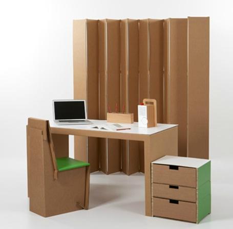Decora y disena muebles de hechos de cart n for Muebles de oficina para armar