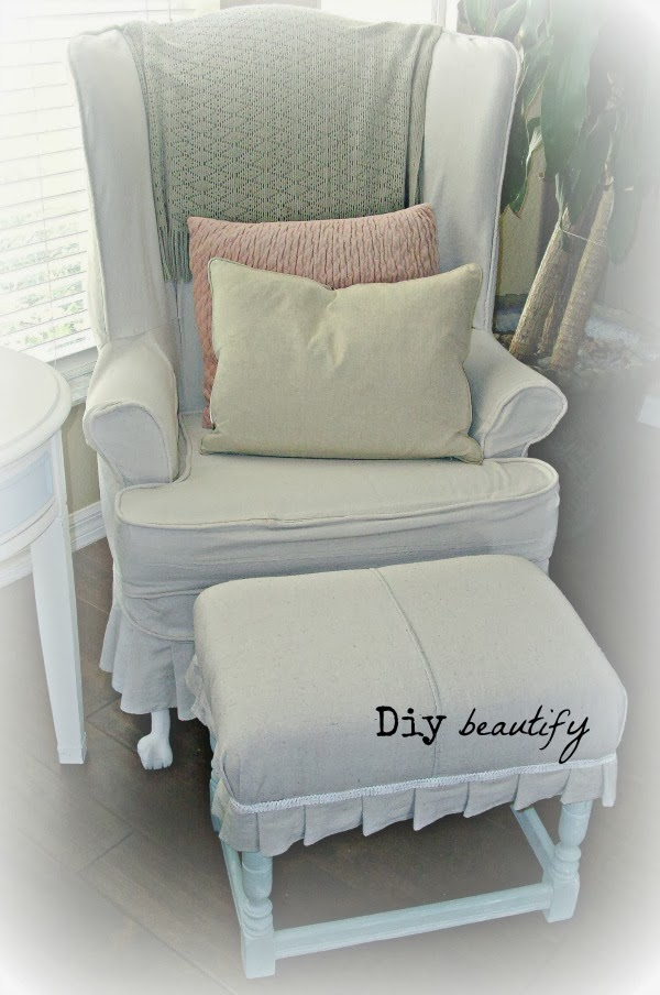 Footstool Makeover using Drop Cloth
