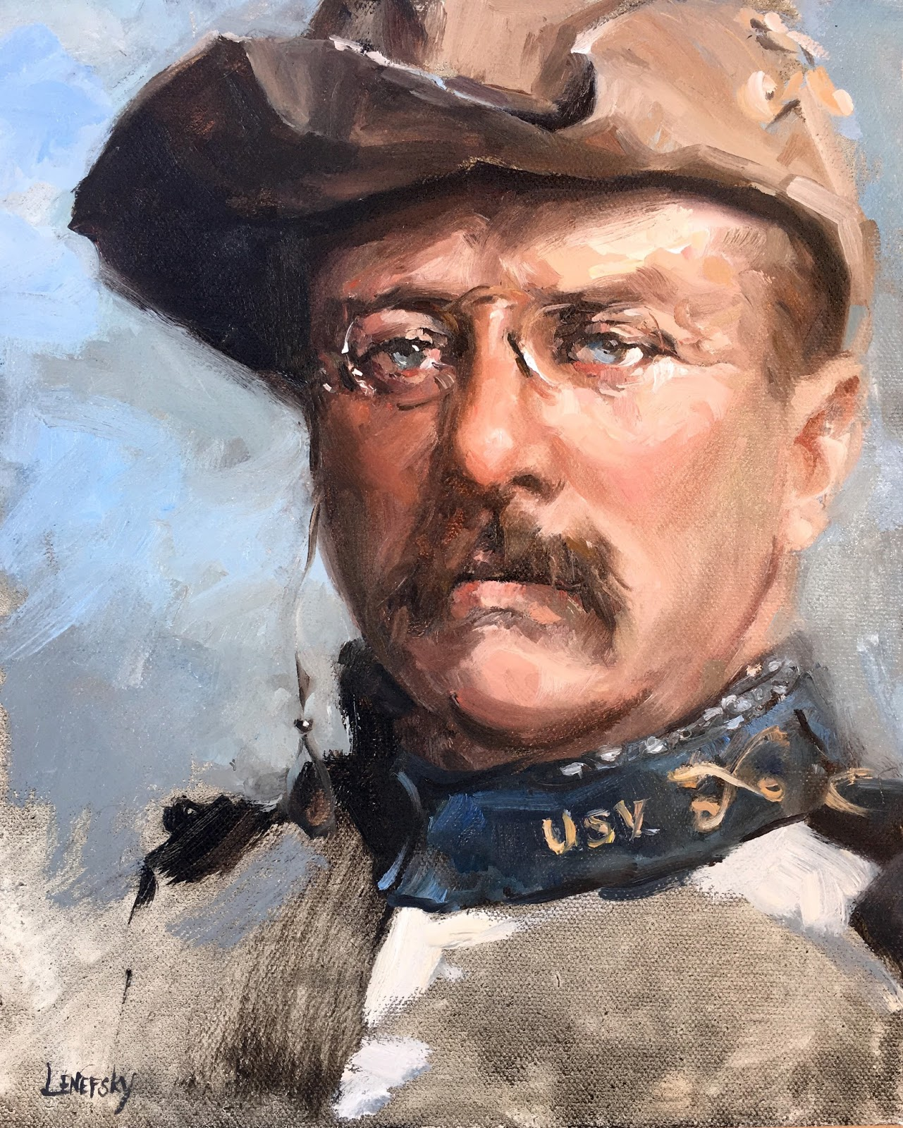 Alla Prima Teddy Roosevelt Portrait Sketch, by Heather Lenefsky, Painting of Theodore Roosevelt