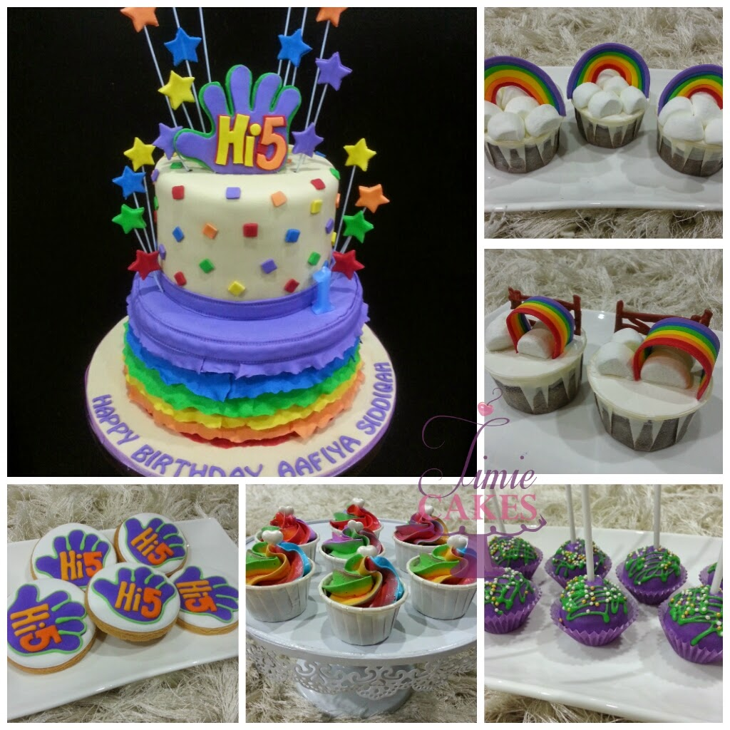 Hi5 Rainbow Birthday Cake Party Idea T
