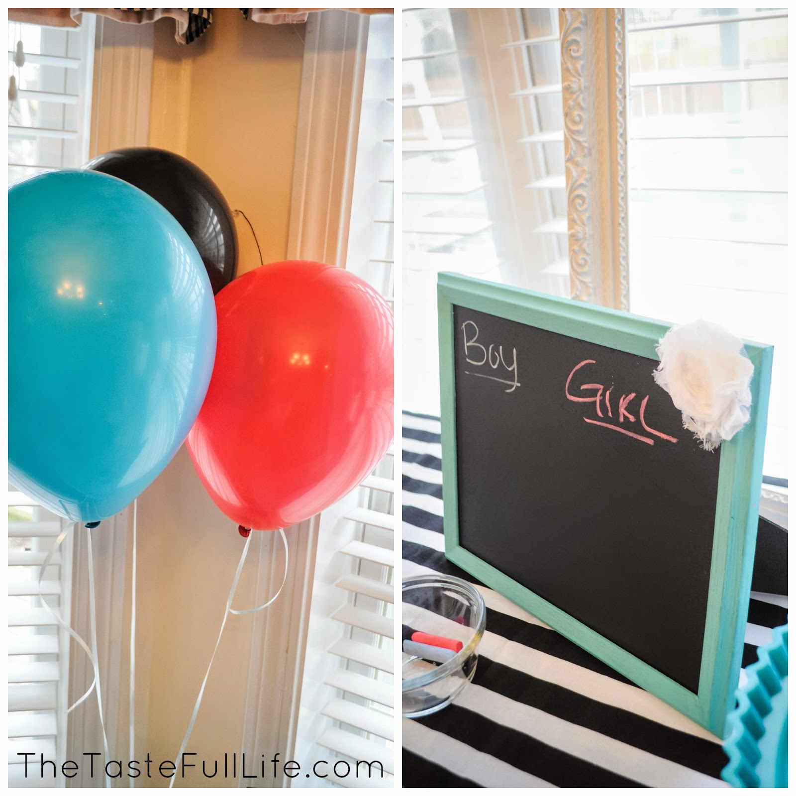 aqua and red gender reveal