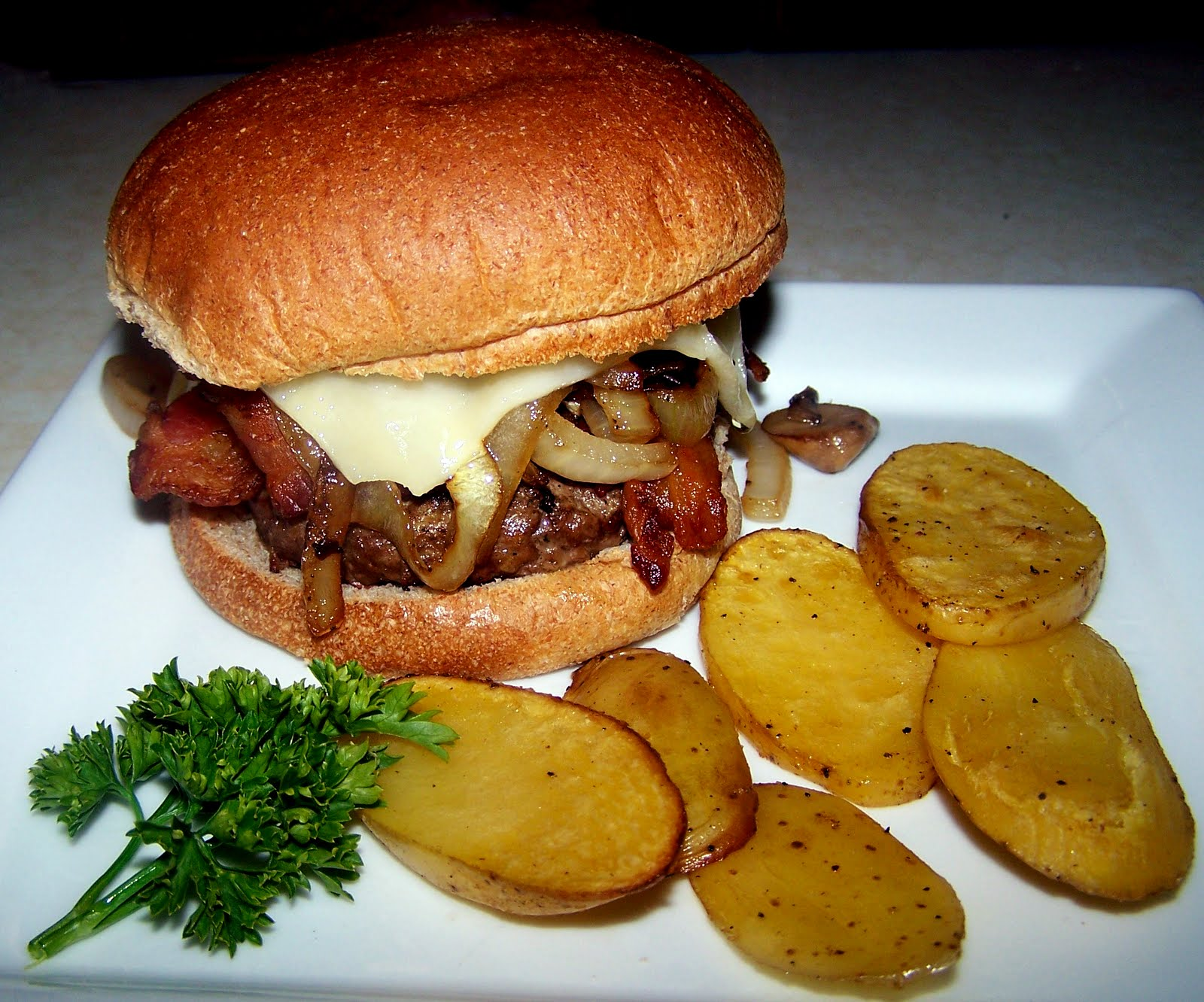 TheKitchenCookie: Bacon Mushroom Onion and Swiss Grilled Burger